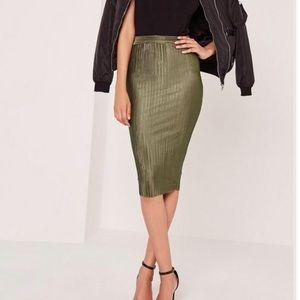 Khaki crinkle midi skirt